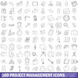 100 project management icons set, outline style Royalty Free Stock Photo