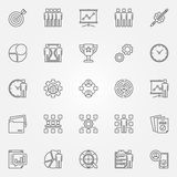 Project management icons set. Vector business development and strategy concept symbols in thin line style Stock Image