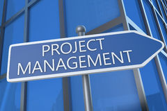 Project Management. Illustration with street sign in front of office building Stock Images