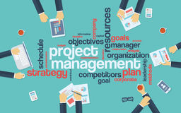 Project management infographics poster with. Businessmen working around the word cloud. Analysis and planning keywords. Office objects. Eps10 vector Stock Images