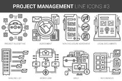 Project management line icon set. Project management infographic metaphor with line icons. Project management concept for website and infographics. Vector line Stock Photos