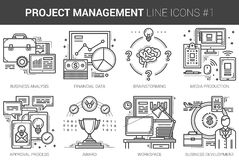 Project management line icon set. Project management infographic metaphor with line icons. Project management concept for website and infographics. Vector line Stock Photo