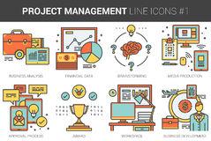 Project management line icon set. Project management infographic metaphor with line icons. Project management concept for website and infographics. Vector line Stock Photography