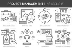 Project management line icon set. Project management infographic metaphor with line icons. Project management concept for website and infographics. Vector line Royalty Free Stock Image