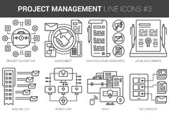 Project management line icon set. Project management infographic metaphor with line icons. Project management concept for website and infographics. Vector line Royalty Free Stock Images