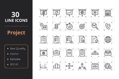 30 Project Management Line Icons. High quality project management line icons. Icons for user interfaces and web Royalty Free Stock Images