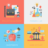 Project management, research lab, investments, bank account flat royalty free illustration