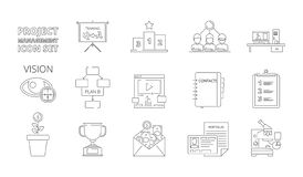 Project management symbols. Business planning processes web crm systems for work plan and strategy vector thin line vector illustration