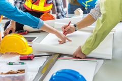Project management team of engineers and achitects planing for n. Ew project., Business construction concepts stock photo