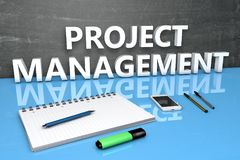 Project Management text concept. Project Management - text concept with chalkboard, notebook, pens and mobile phone. 3D render illustration Royalty Free Stock Photo