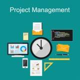 Project management or time management illustration.. Project management illustration. Flat design Stock Photos
