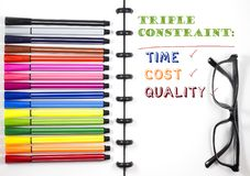 Project Management Triple constraint text on white sketchbook with color pen and eye glasses, Top View/Flat Lay. White isolated Royalty Free Stock Photography