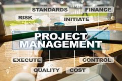 Project management on the virtual screen. Business concept.  Stock Images