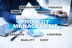 Project management on the virtual screen. Business concept. Project management on the virtual screen. Business concept Royalty Free Stock Images