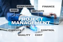 Project management on the virtual screen. Business concept. Project management on the virtual screen. Business concept Royalty Free Stock Photos