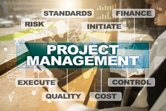 Project management on the virtual screen. Business concept. Royalty Free Stock Photo
