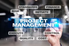 Project management on the virtual screen. Business concept.  Royalty Free Stock Image