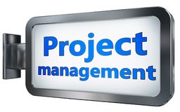 Project management on billboard background. Project management wall light box billboard background , isolated on white Royalty Free Stock Images