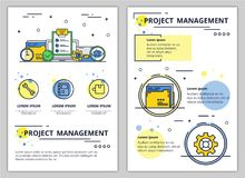 Vector line art project management poster banner Stock Photography
