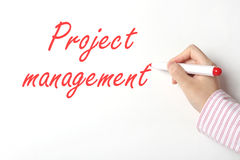 Project management. On white board Royalty Free Stock Photography