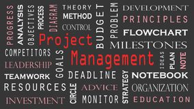Project Management word cloud concept on black background Royalty Free Illustration