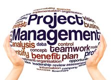 Project Management word cloud hand sphere concept stock image