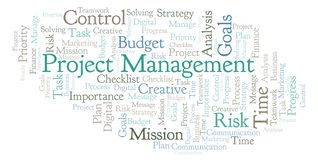 Project Management word cloud, made with text only. Project Management word cloud, made with text only vector illustration