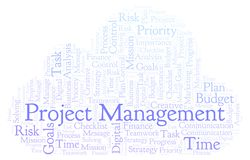 Project Management word cloud, made with text only. Project Management word cloud, made with text only stock illustration