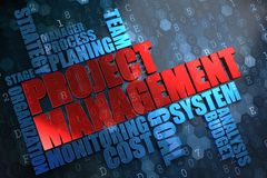 Project Management. Wordcloud Concept. Project Management - Wordcloud Concept. The Word in Red Color, Surrounded by a Cloud of Blue Words Royalty Free Stock Images