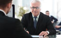 Project Manager conducts an interview with a new employee. In a modern office Royalty Free Stock Images