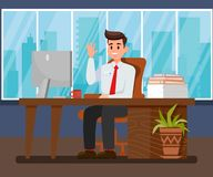 Man at New Workplace Flat Vector Illustration. Project Manager Flat Vector Character. Friendly Consultant, Administrator. Happy and Satisfied Office Worker royalty free illustration