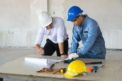 Supervisor foreman or Architect discuss with Technical Engineer. Project Manager Supervisor foreman or Architect discuss with Technical Engineer or Civil Worker royalty free stock image