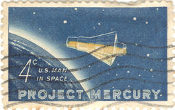 Project Mercury Stamp. USA Project Mercury four cent stamp Royalty Free Stock Photos