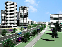 Project of modern city. Part of the modern city with a high-rise apartment building Stock Photo