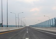 The project new road construction from Motorway No.7 to Laem Chabang Port, Thailand.  royalty free stock photos