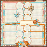 Retro family album. 12 months. Scrapbooking templates. Stock Photo