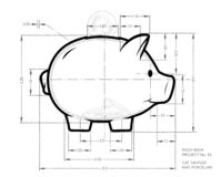 Project - pencil scheme of cute piggy bank. Working sketch of money container in pig  form with dimensions. stock images