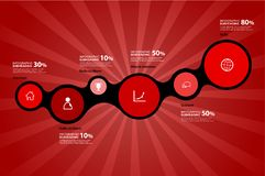 Project percentage progress overview graph vector illustration background with colorful circles shows the percentage milestones. Vector art royalty free illustration