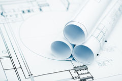 Project plan background with blueprints Royalty Free Stock Image