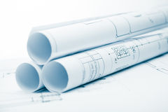 Project plan background with blueprints Royalty Free Stock Images
