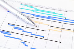 Project plan. Business chart with pen Stock Photos