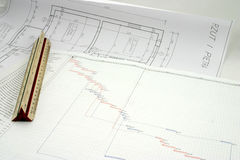 Project plan with design. A progress chart put on the design with ruler Stock Photo