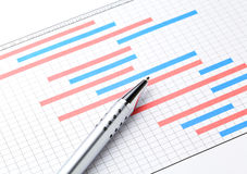 Project plan gantt charts. With pen Royalty Free Stock Photo
