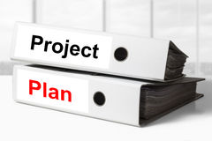 Project plan office binders Stock Photo