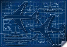 Project of a Plane in Five Positions Royalty Free Stock Photo