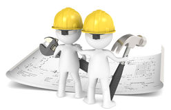 Project Planning. 3D little human character The Builder X2 planning infront of a Blueprint. People series Royalty Free Stock Photo