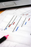 Project Planning Gantt Chart. With Highlighter pen in foreground Royalty Free Stock Photos