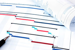 Project Planning Gantt Chart. Project management documents with close-up view of Gantt chart Stock Photos