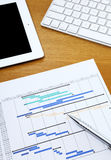 Project planning gantt chart with tablet and computer keyboard Stock Photo