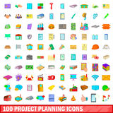 100 project planning icons set, cartoon style Royalty Free Stock Photos